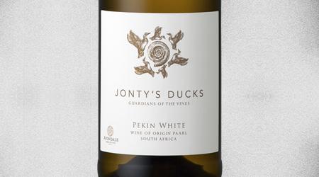 """<font size=""""3.5"""">JONTY'S DUCKS<br>PEKIN WHITE 2018<br>PAARL, SOUTH AFRICA</font>"""